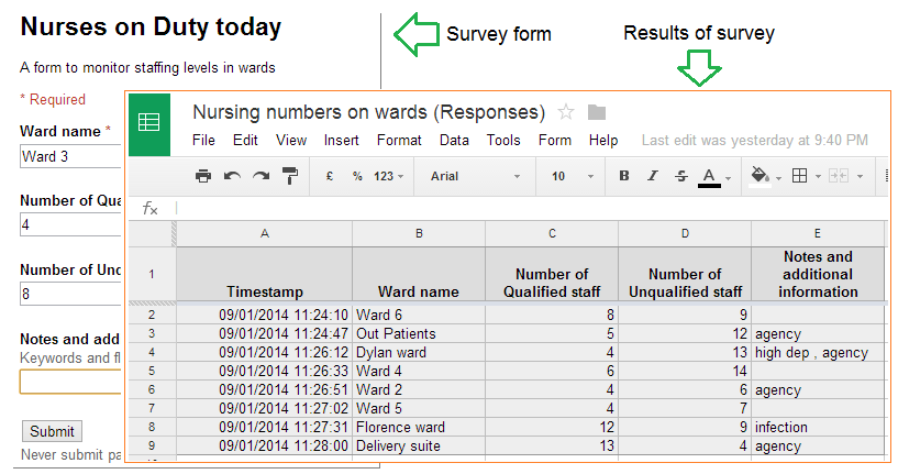 Excel and Google Docs – Google Worksheet