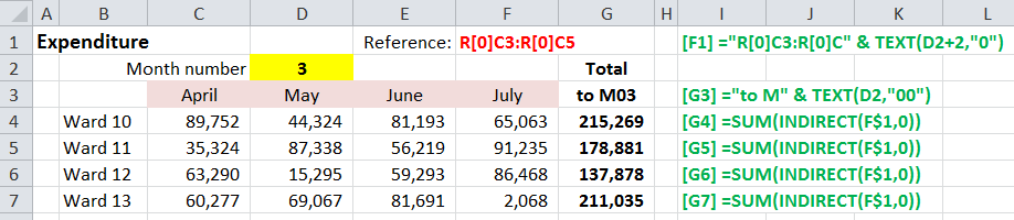 Excel R1C1 cell references