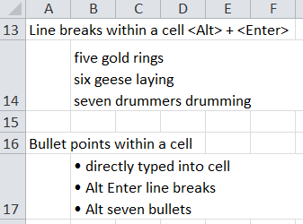 insert line breaks into text in cells